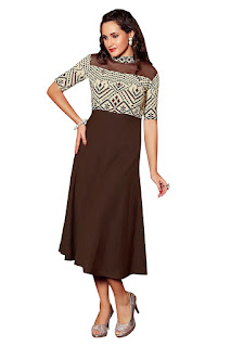 Brown Linen Party Wear Kurti