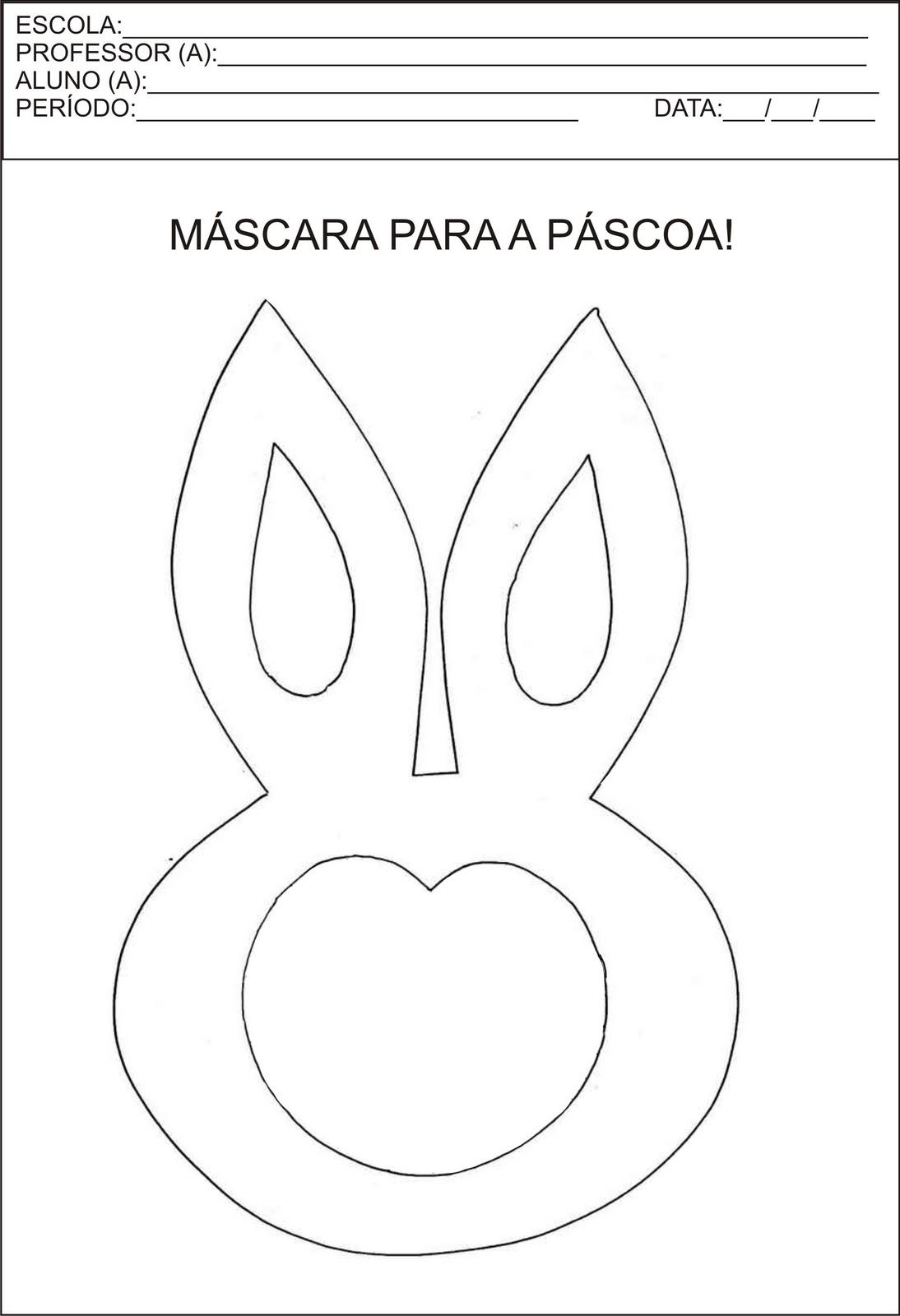 máscara para páscoa para crianças, máscara para imprimir