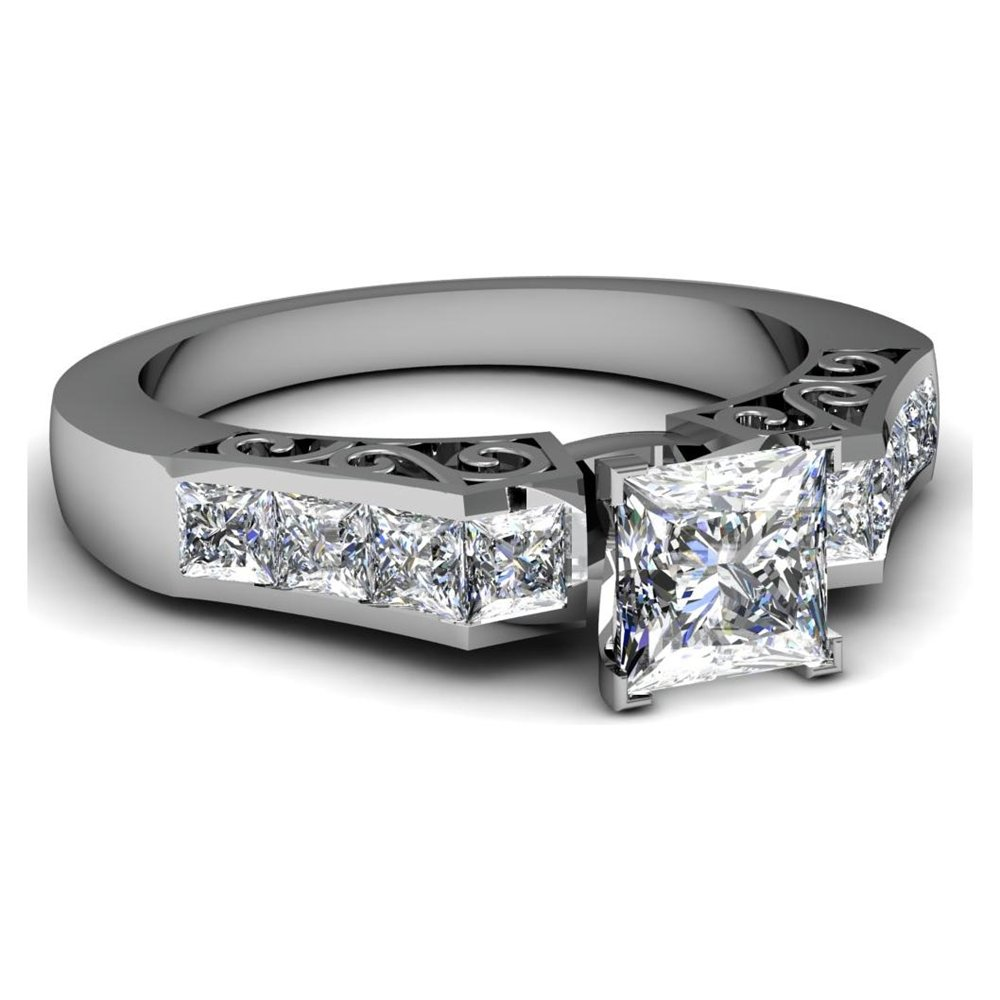 Get princess cut engagement ring with diamond band Ring Review