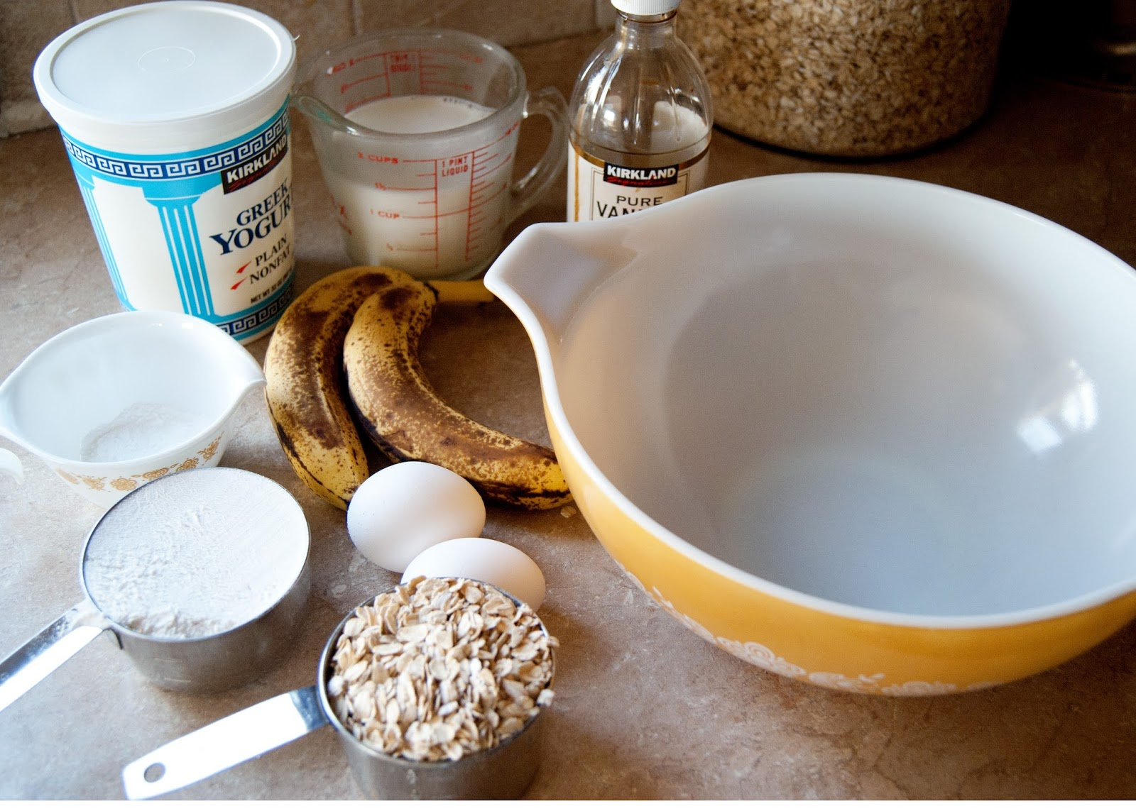 Ingredients for banana bread pancakes