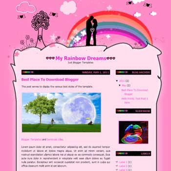 My Rainbow Dreams Blogger Template. convert wordpress theme to blogspot template