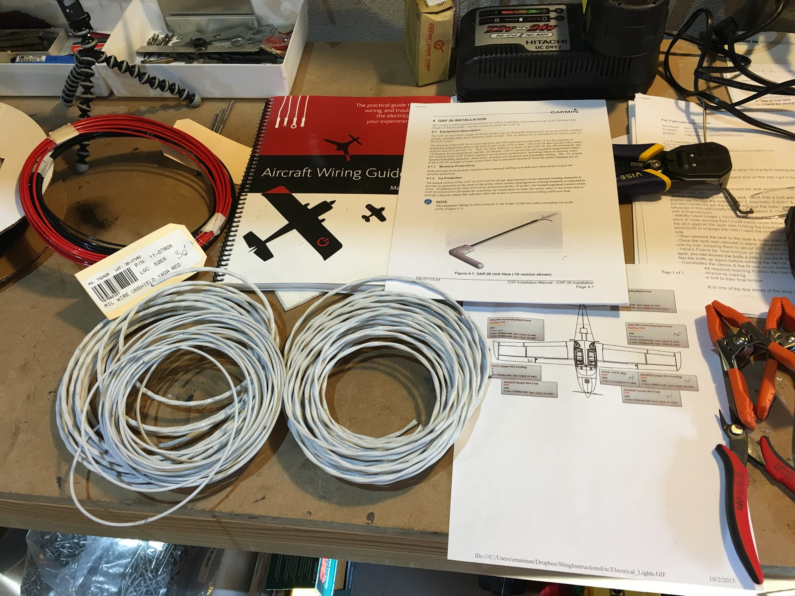 Craigs Sling 4 Build Log Wiring Harness Sleeves Assembling The Wires For Printed Out Garmin Gap 26 Pitot Installation Instructions And Read Them Over Red Black Wire On Left