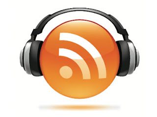RSS Feed Symbol with Headphones-Podcasting