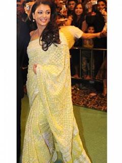 Aishwarya Rai in Lucknowi Chikan Saree