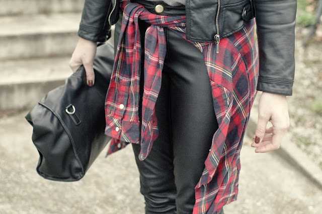Sneakers- All Star chucks, leather pants, shirt- H&M, tartan shirt, beanie- New Yorker, jacket, bag- Zara, tartan shirt around hips, all leather look, casual look, big grey knitted beanie, fall look, ootd