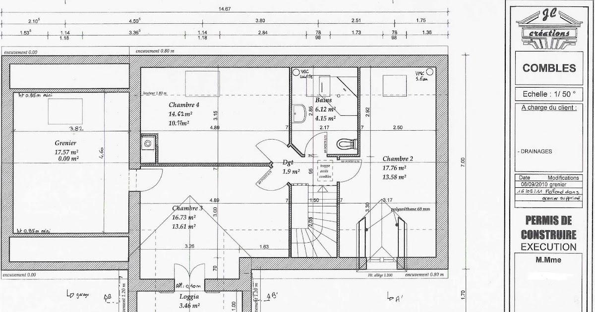 je fais construire ma maison plan du 1er tage sous combles. Black Bedroom Furniture Sets. Home Design Ideas