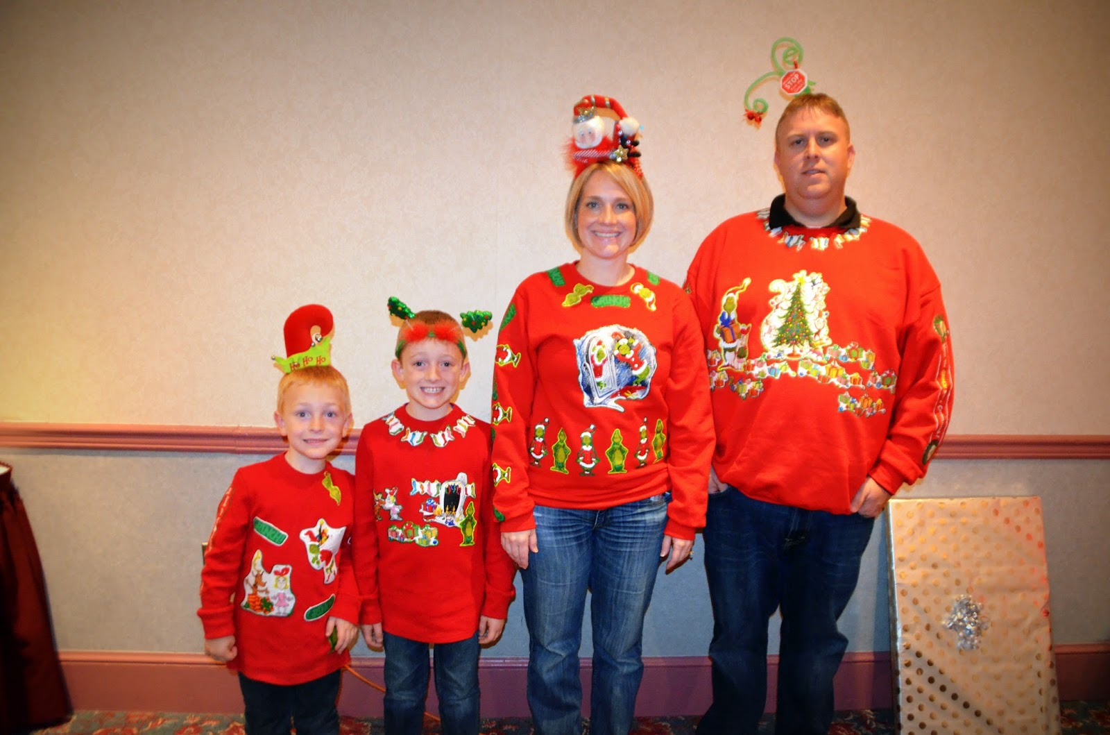 the bane family ugly christmas sweater contest we all wore handmade grinch shirts they told the story of how the grinch stole christmas - How The Grinch Stole Christmas Sweater