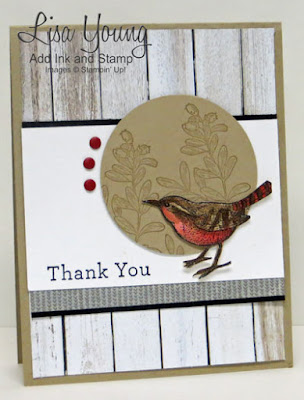 Stampin' Up! An Open Heart stamp set with bird. Handmade card by Lisa Young, Add Ink and Stamp