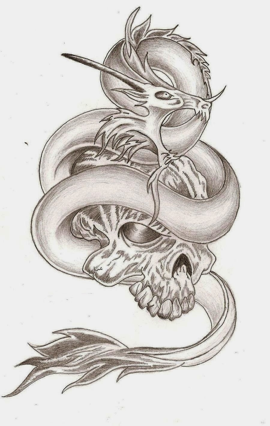 Skull and dragon tattoo stencil 45 (click for full size)