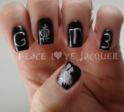 Game of Thrones, season 3, Nail Art, black, silver, wolf, stark