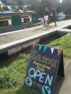 Zazou Narrowboat Cafe Board outside the boat