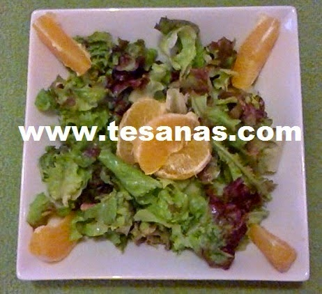 Ensalada de brotes, gajos de naranjas y vinagreta de limón