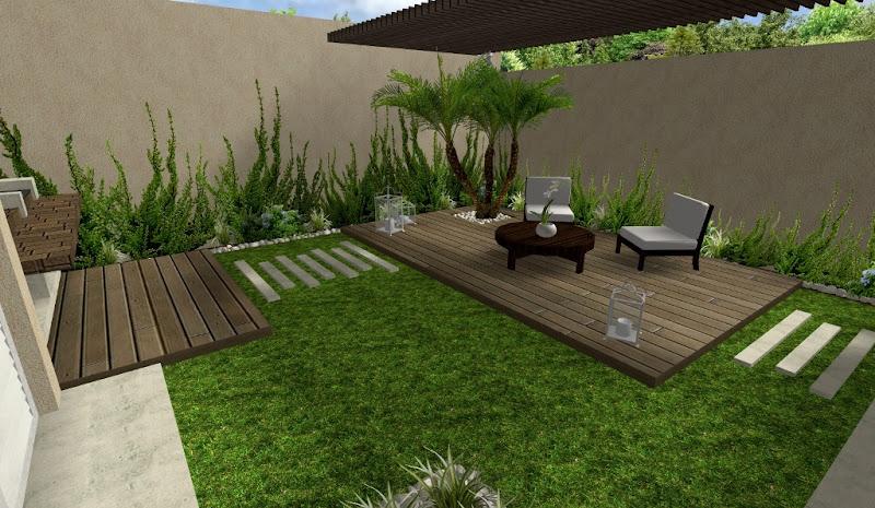diseño de jardin hermoso con deck y pergola y plantas trepadoras