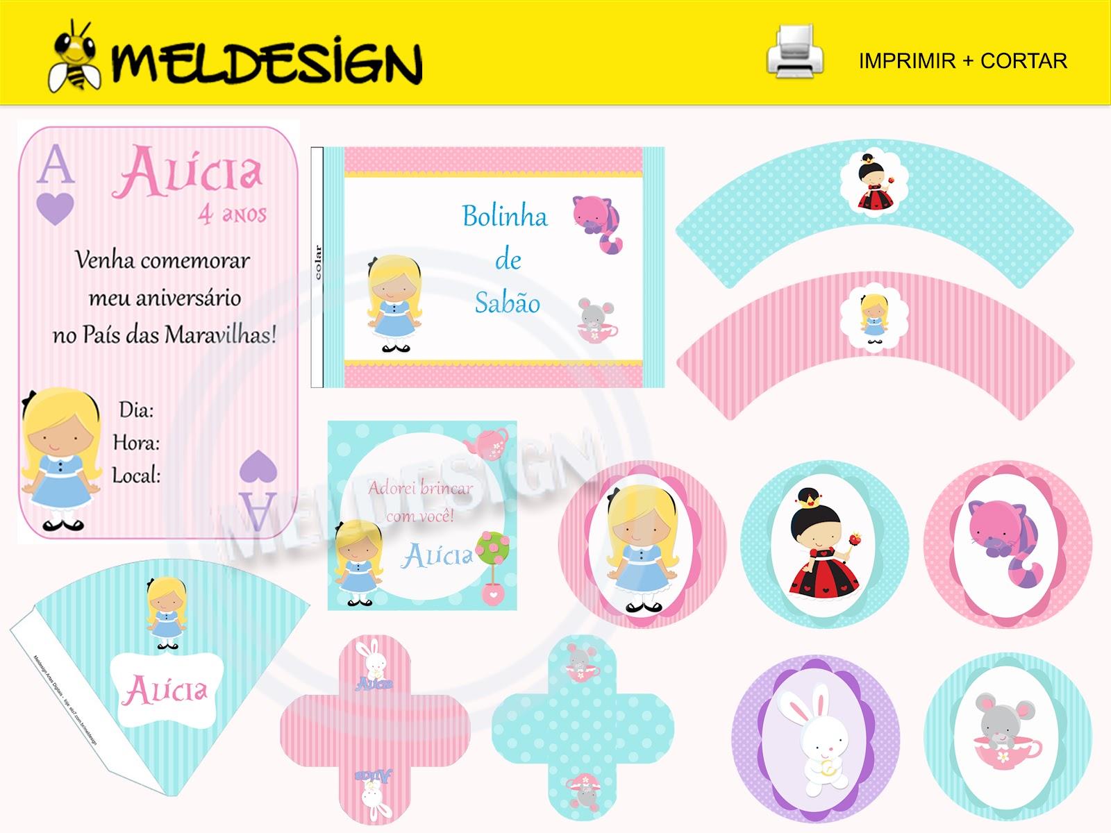 Muito Meldesign for kids: Kit Festa Digital : Alice no País das Maravilhas TJ43