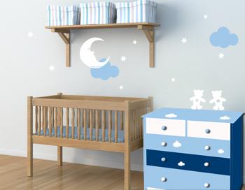 Stickers muraux des d co originales avec des autocollants stickers chambre b b une d co for Couleur pour chambre bebe