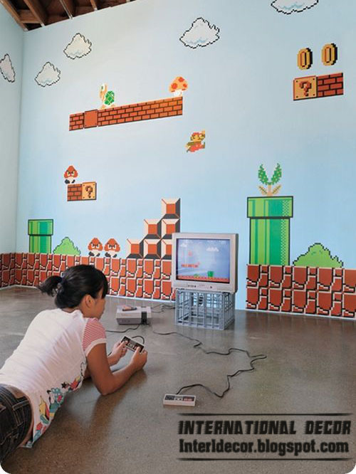 Wall Design For Kids girls bedroom with modular storage bookcase Super Mario Wall Sticker For Kids Room Mario Room Design