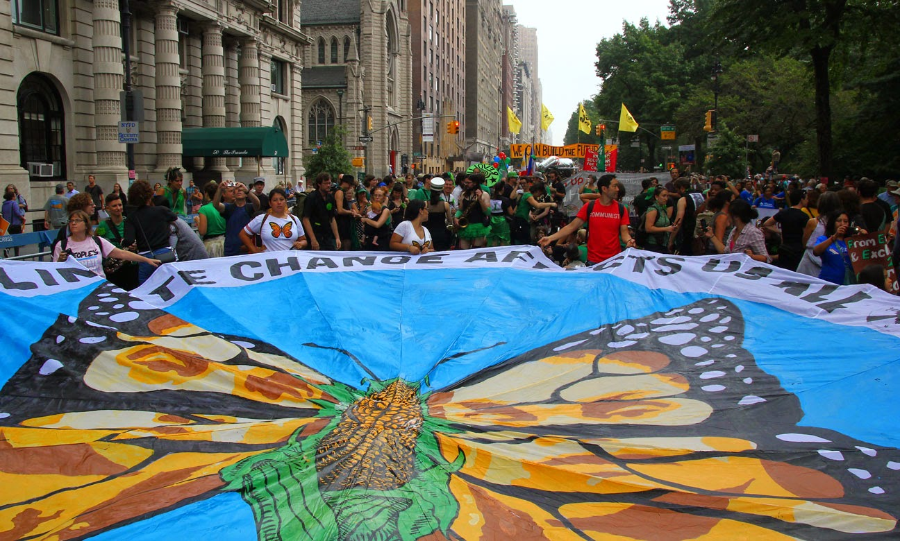 Marcha contra el cambio climático en Manhattan, Nueva York, NY.