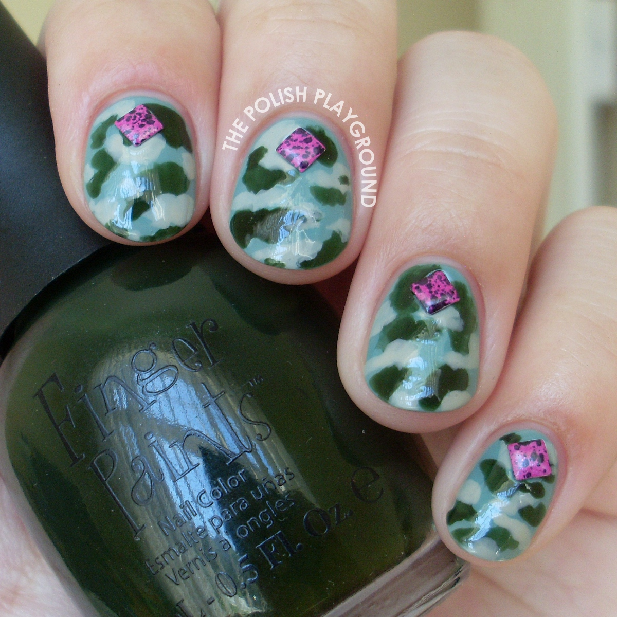 Army Camouflage with Square Splatter Studs Nail Art