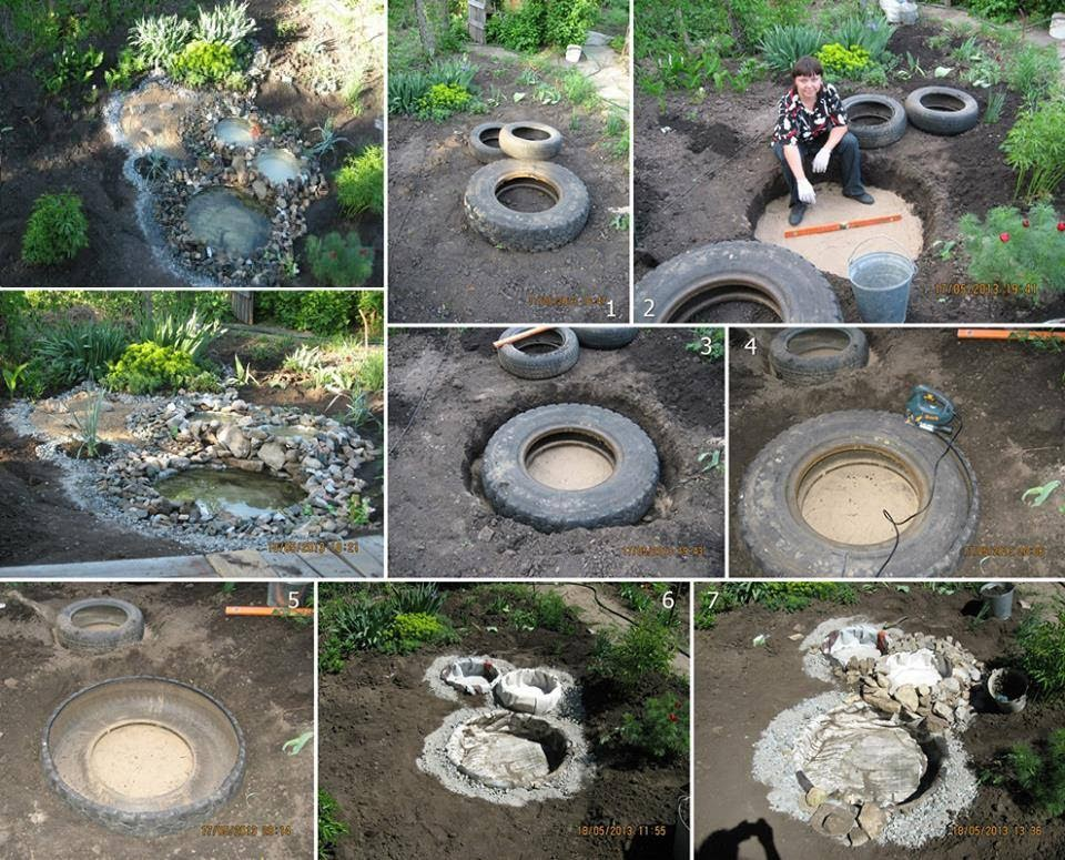 Amazing creativity how to make a decorative pond from old for Diy waterfall pond ideas