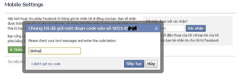 xác minh tài khoản facebook bằng số điện thoại 2