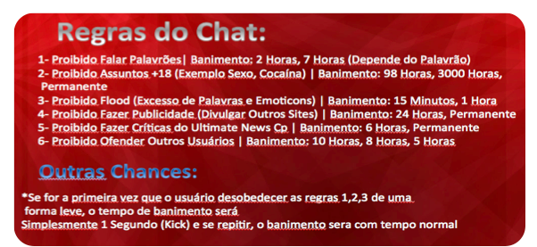 Regras do Chat: