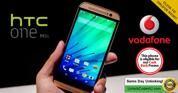 Factory Unlock Code for HTC One M8s from Vodafone