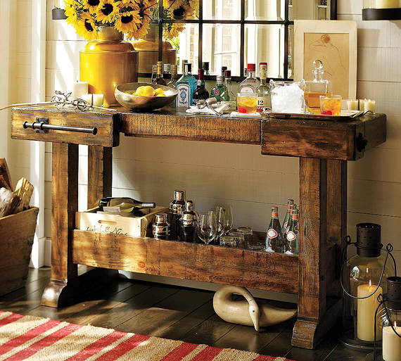 40 Cool Rustic Bar Design: Sixpence Blue Moon: Pottery Barn Bar And Hutch