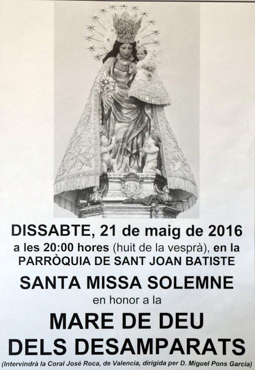 21.05.16 FESTA A LA MARE DE DEU DELS DESAMPARATS