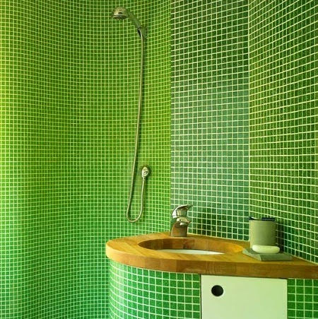 Green and white floor tiles