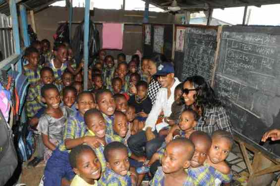 Photos: Yvonne Nelson, IK Ogbonna & Adokiye donate to pry school