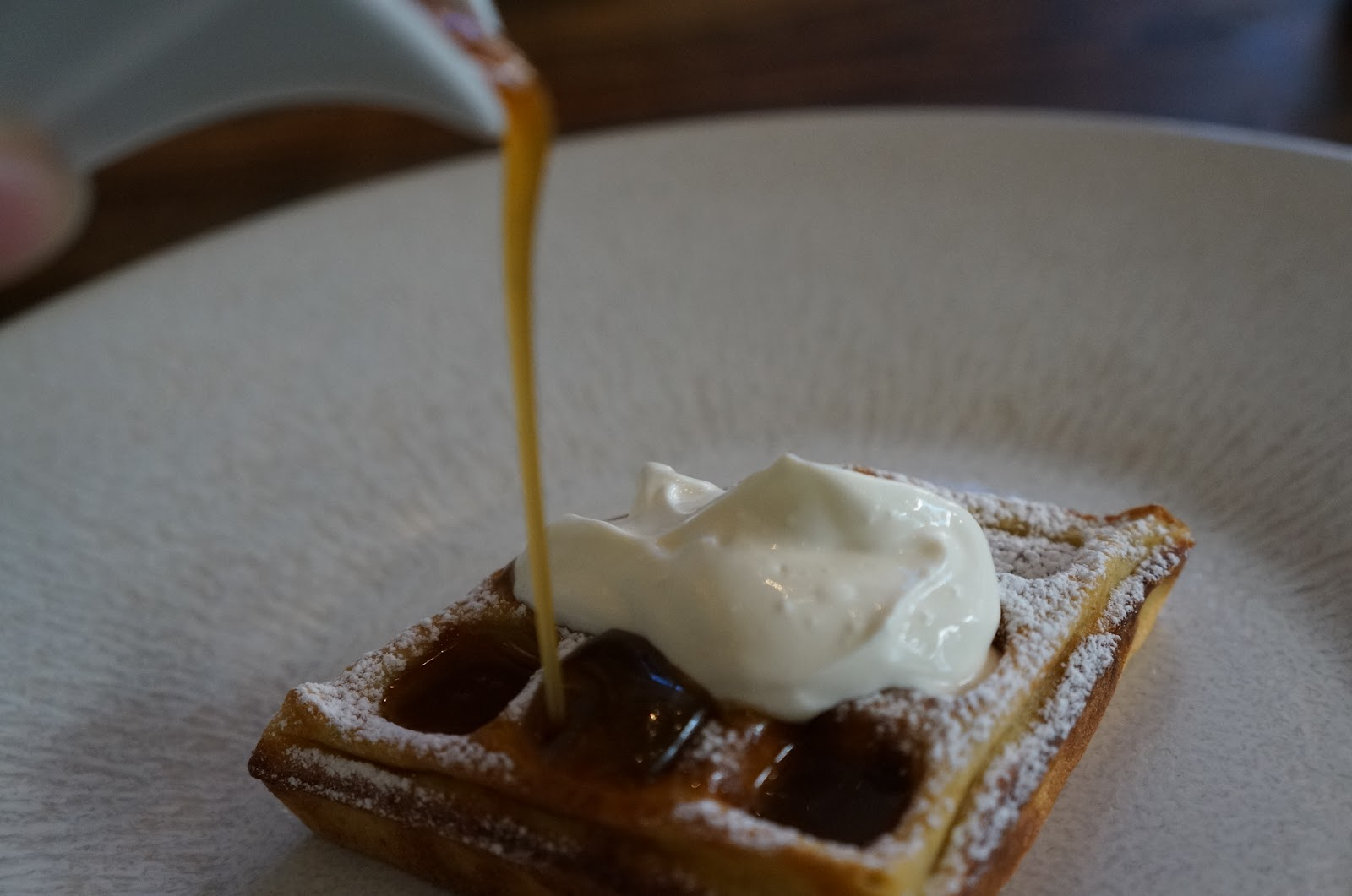 Warm buckwheat waffle, smoked fudge sauce & sour cream