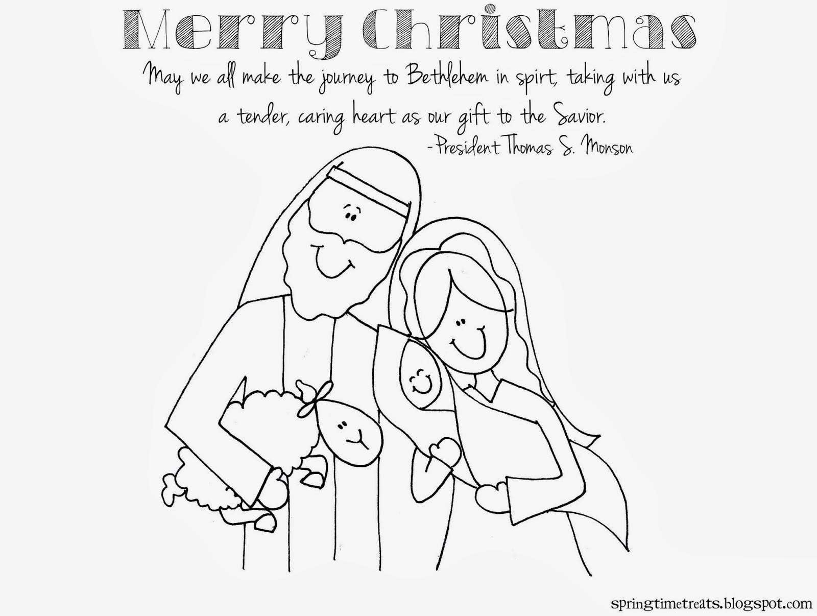 Merry christmas printable for Thomas s monson coloring page