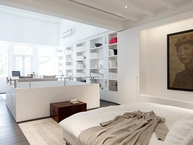 Picture of small narrow minimalist bedroom