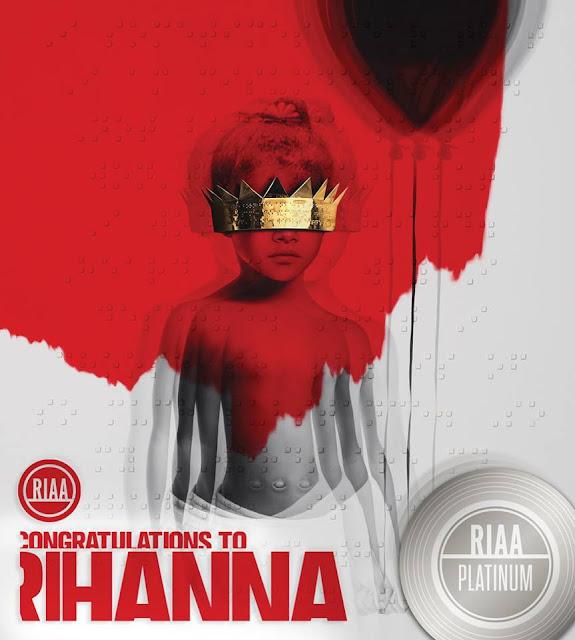 """""""ANTI"""" de Rihanna obtuvo certificado platino en los Estados Unidos a un día de su lanzamiento."""