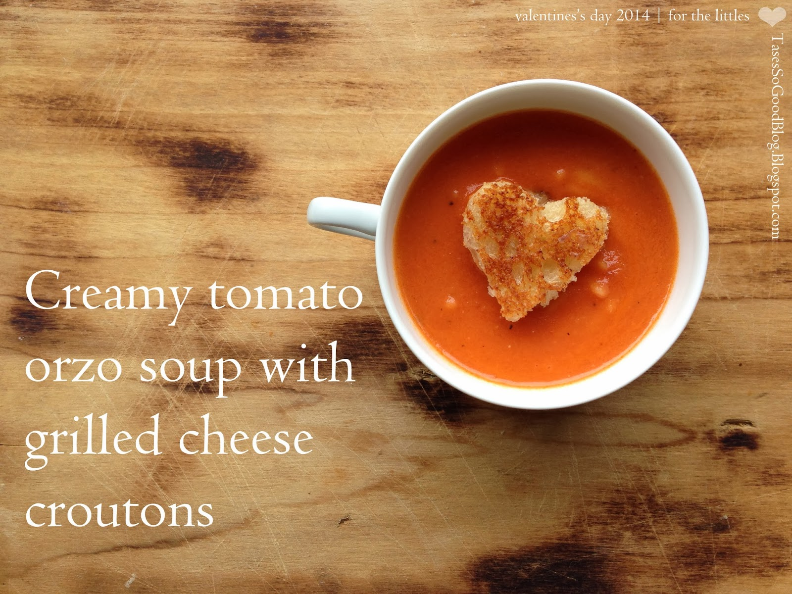 Creamy Tomato, Orzo Soup with Grilled Cheese Croutons || by Tastes So Good Blog