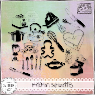 "Free scrapbook ""Kitchen Silhouettes - CU"" from Cajoline scrap"