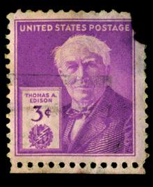 inventore della lampadina : francobollo,raffigurante Thomas Alva Edison,inventore della lampadina ...