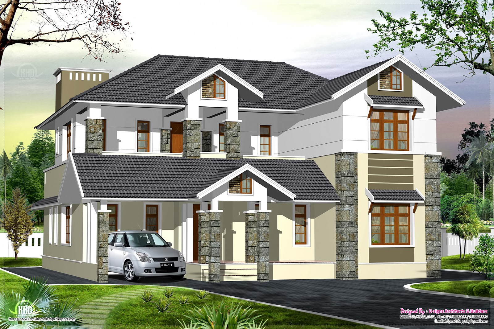 Luxury kerala style villa exterior design home kerala plans for Kerala style villa plans