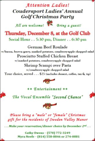 12-8 Coudersport Ladies Annual Golf Christmas Party
