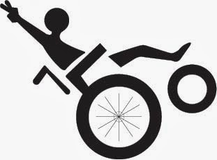 icon of person in wheelchair balancing on back wheel and showing a peace sign