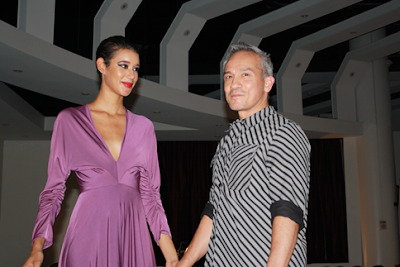 End of Show, Model poses with Designer Cesar Galindo - Latinista Fashion Week, New York City
