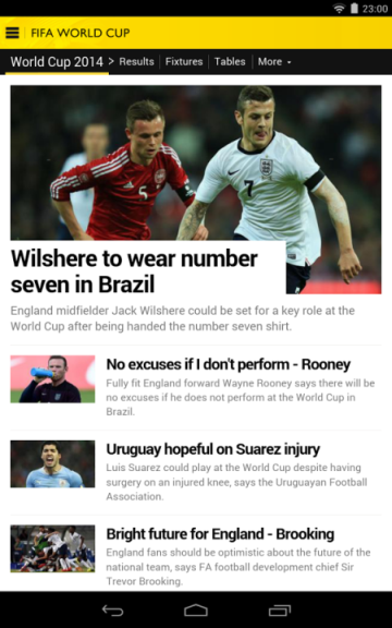 BBC sports live app for FIFA 2014