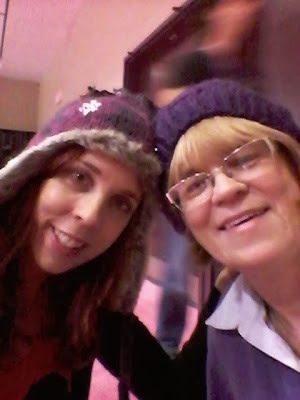 My Mom and I in our $5 purple tuques bought at the National Women's Show in Toronto
