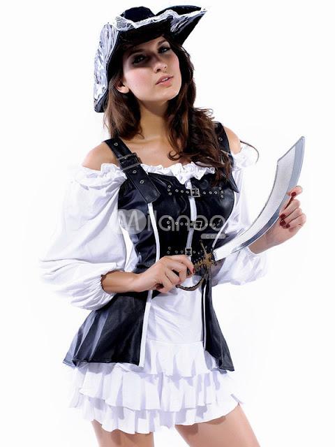 Noir Et Blanc Acrylique PU costume de pirate