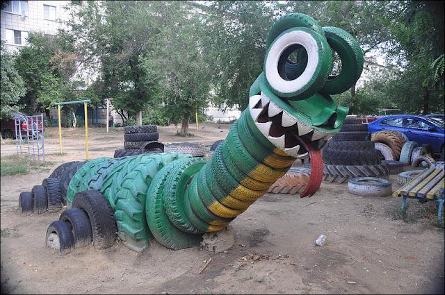 Gran idea para decorar un parque infantil o un jard n con for Parque infantil jardin
