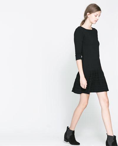 siyah fırfırlı elbise kısa elbise