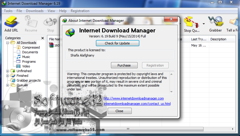 Screenshot IDM 6.19 Build 9