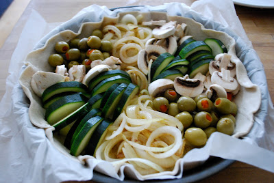 Zukinie - onions - olives - mushrooms for quiche