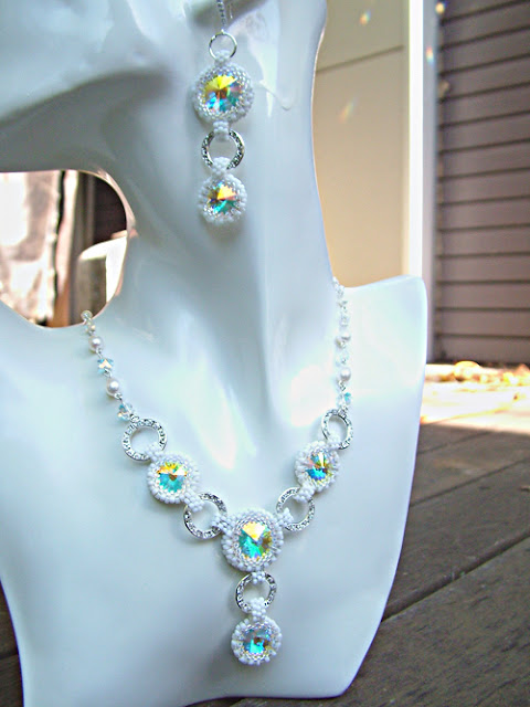 Bling & Purity - Swarovski Rivoli Necklace and Earrings Set