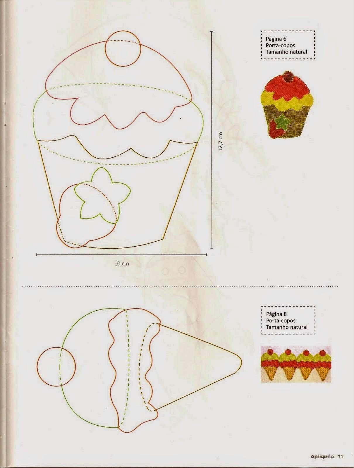 Moldes de sorvete e cupcake para patchwork